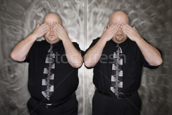 Gêmeo homens olhos caucasiano careca adulto Foto stock © iofoto