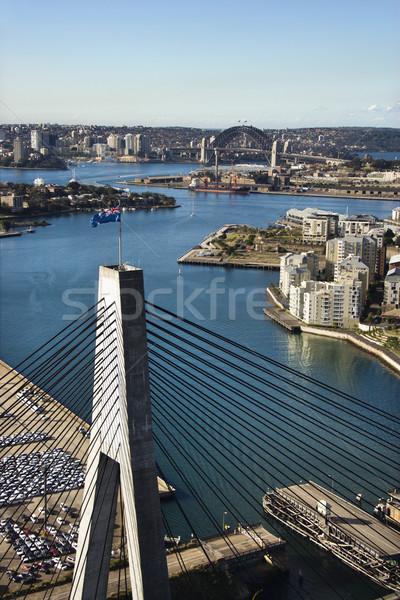 Stock fotó: Híd · Ausztrália · légifelvétel · épületek · kikötő · Sydney