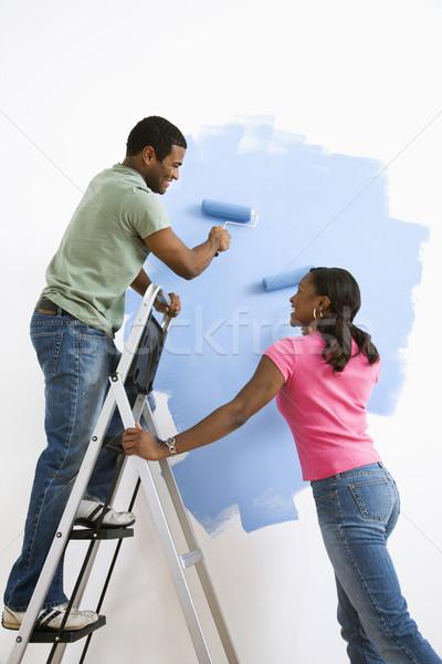 Pareja pintura junto sonriendo masculina Foto stock © iofoto