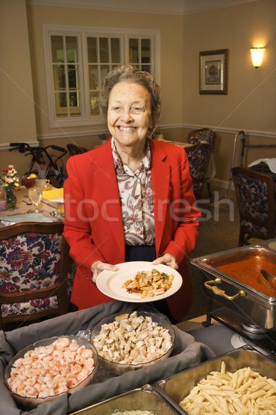 女性 食品 ビュッフェ 高齢者 白人 ダイニングルーム ストックフォト © iofoto