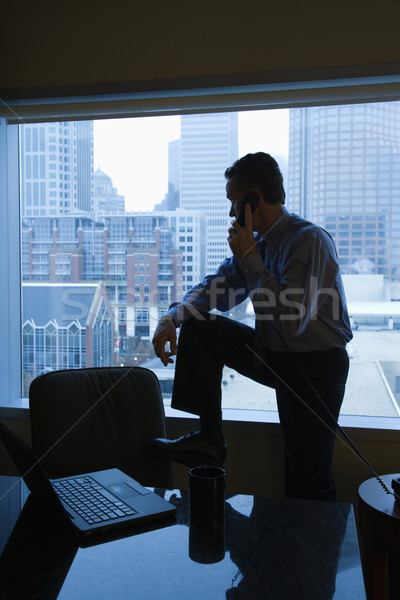 Stock photo: Businessman on phone in office.