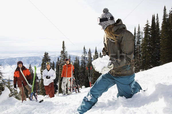 Feminino esquiador bola de neve grupo em pé Colorado Foto stock © iofoto