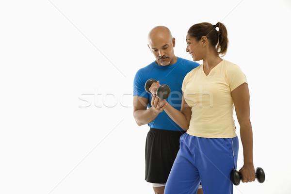 Kadın adam egzersiz gülen yetişkin Stok fotoğraf © iofoto