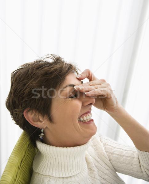 Femme rire tête épaule portrait joli Photo stock © iofoto
