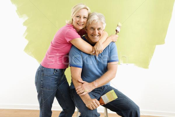 Couple pinceaux portrait souriant adulte séance Photo stock © iofoto