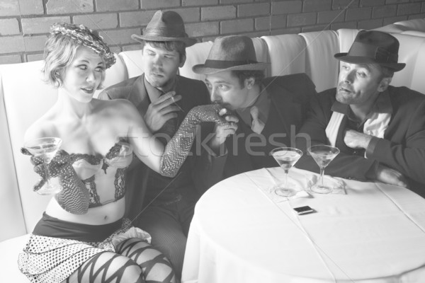 Retro men wooing female. Stock photo © iofoto