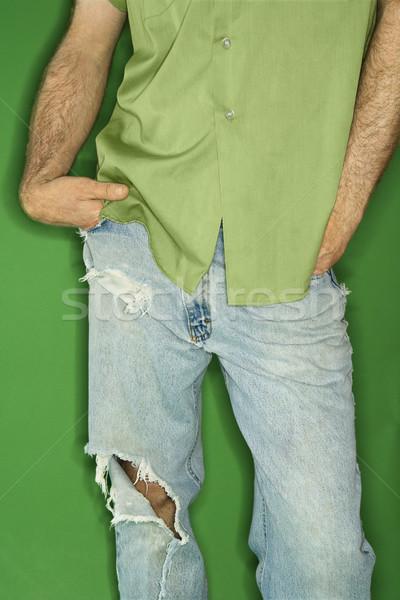 Kaukasisch man gescheurd jeans lichaam portret Stockfoto © iofoto