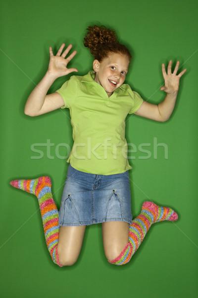 Lány mosolyog ugrik kaukázusi női gyermek Stock fotó © iofoto