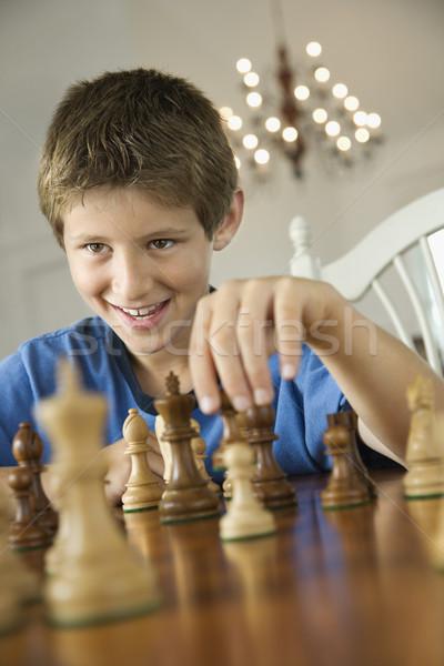Stock fotó: Fiú · játszik · sakk · kaukázusi · gyermek · szín