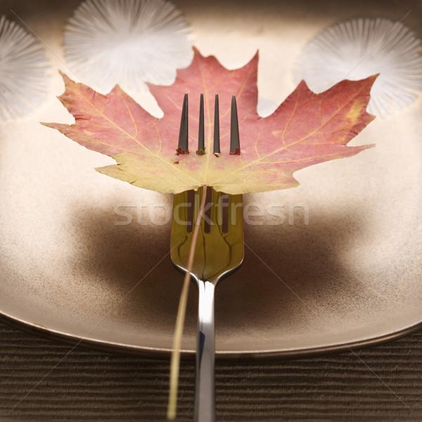 Fall leaf on fork. Stock photo © iofoto