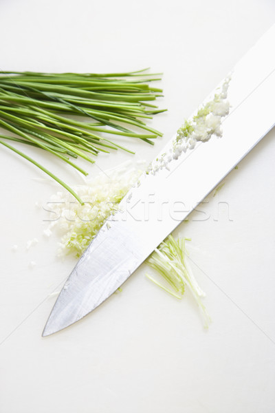 Chives with knife. Stock photo © iofoto