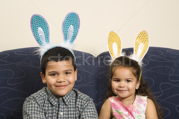 Kids wearing bunny ears. Stock photo © iofoto