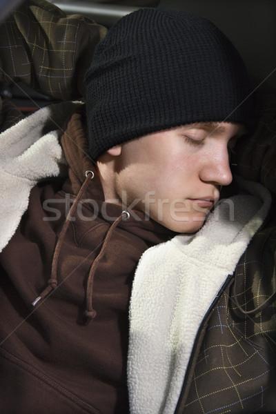 Adormecido adolescente caucasiano masculino adolescente urbano Foto stock © iofoto