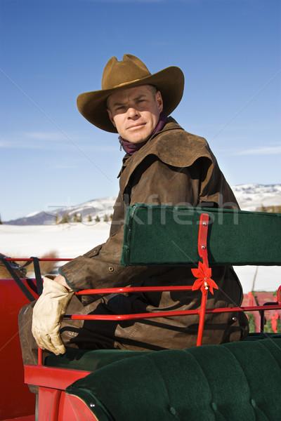 Man in sleigh. Stock photo © iofoto