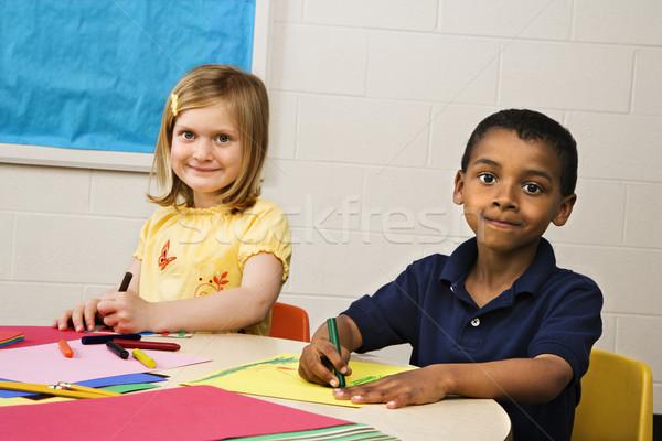 Boy and Girl in Art Class Stock photo © iofoto