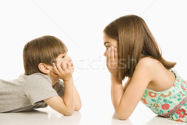 Bambini guardando ritratto ragazza ragazzo faccia Foto d'archivio © iofoto