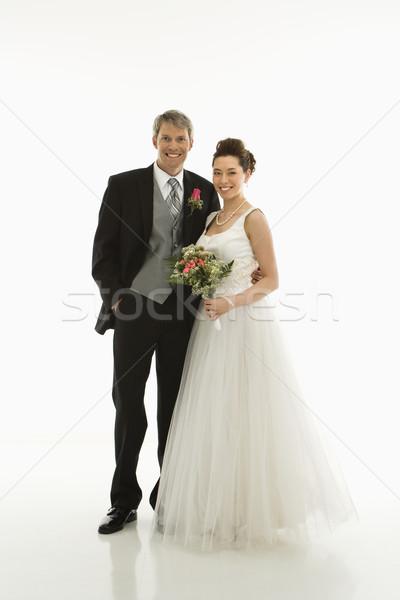 Mireasă mire portret caucazian asiatic căsătorie Imagine de stoc © iofoto
