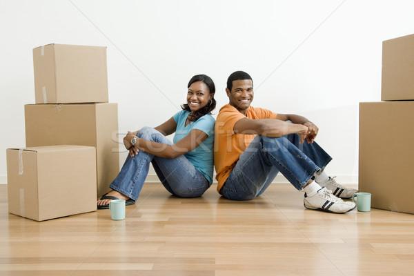 Retrato casal caixas africano americano masculino feminino Foto stock © iofoto