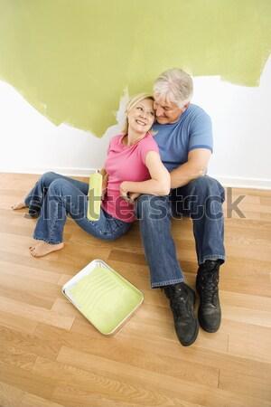 Homme femme blueprints couple Photo stock © iofoto