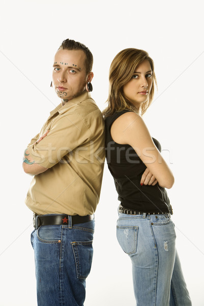 Man and girl back to back. Stock photo © iofoto