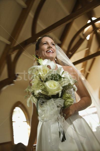Oblubienicy bukiet portret kwiaty ślub Zdjęcia stock © iofoto