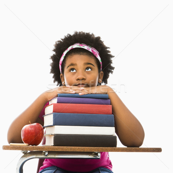 Girl with stack of books. Stock photo © iofoto