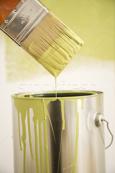 Stock photo: Paintbrush with can.