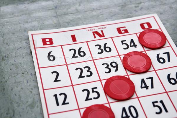 Zwycięski gry karty czerwony bingo chipy Zdjęcia stock © iofoto