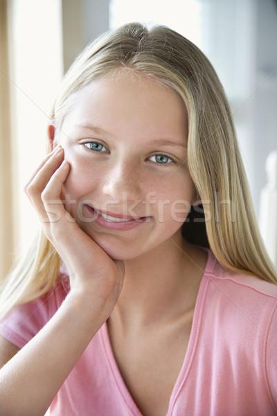 портрет девушки кавказский глядя подбородок Сток-фото © iofoto