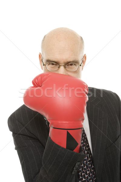 Businessman boxing glove. Stock photo © iofoto