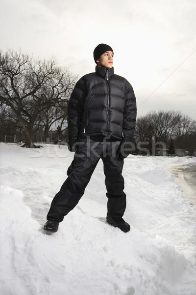 Boy standing in snow. Stock photo © iofoto