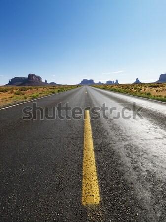Stock fotó: Nyitva · sivatag · út · autópálya · festői · tájkép
