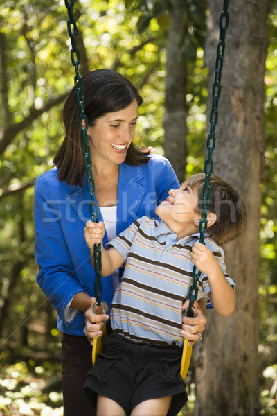Mama syn hiszpańskie matka popychanie huśtawka Zdjęcia stock © iofoto