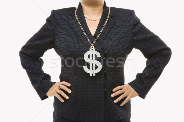Woman wearing dollar sign. Stock photo © iofoto
