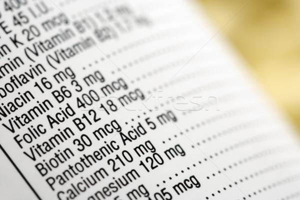Nutritional Content Label Stock photo © iofoto