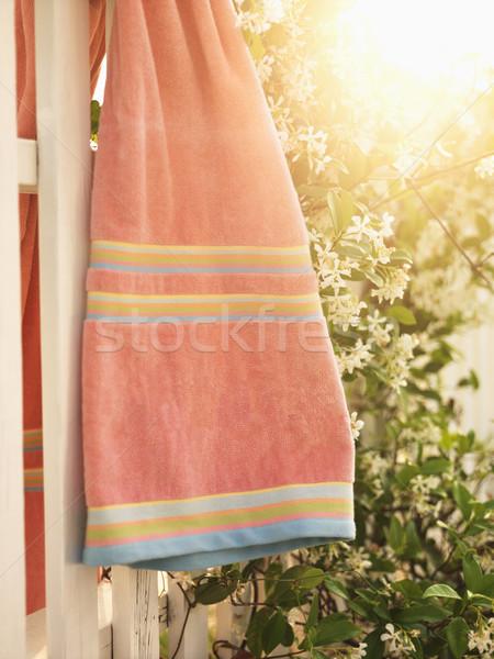 Towel hanging on fence. Stock photo © iofoto