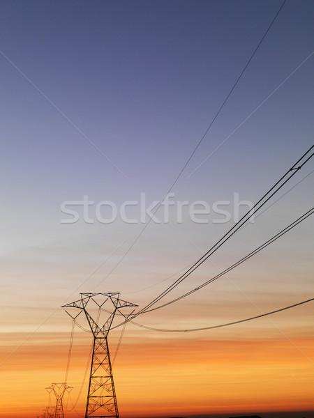 Távvezeték naplemente vonal elektomos tornyok függőleges Stock fotó © iofoto