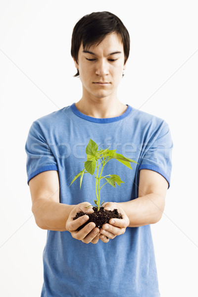 Stock photo: Man holding plant.