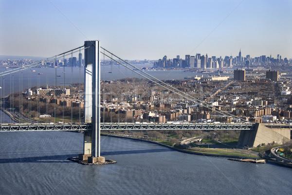 橋 ニューヨーク マンハッタン スカイライン 水 ストックフォト © iofoto