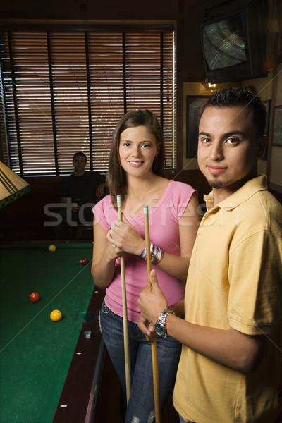 Paar halten Porträt junger Mann Frau spielen Stock foto © iofoto