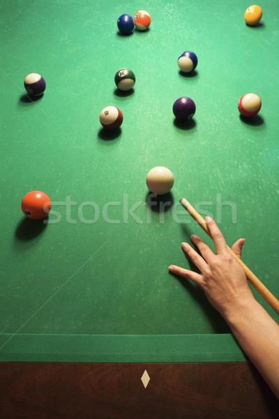 Frau spielen Billard Hand Pool Ball Stock foto © iofoto