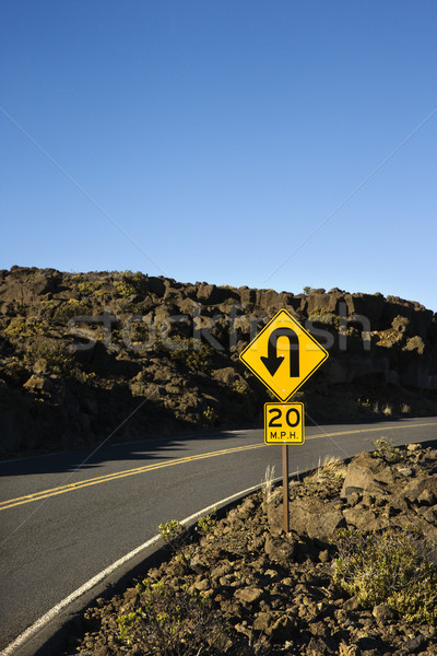 Curve in road sign. Stock photo © iofoto