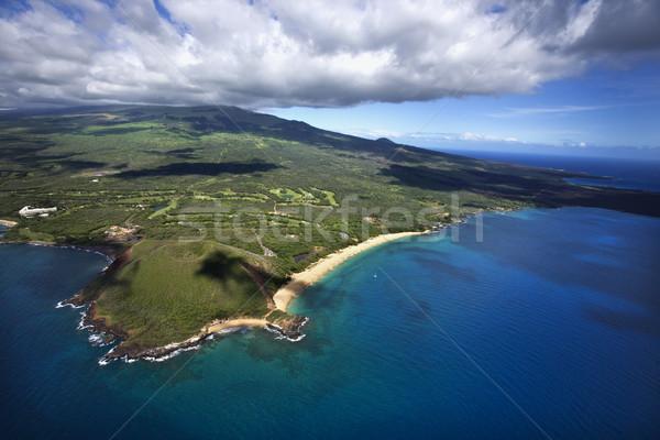 Strand krater antenne kustlijn zandstrand oceaan Stockfoto © iofoto