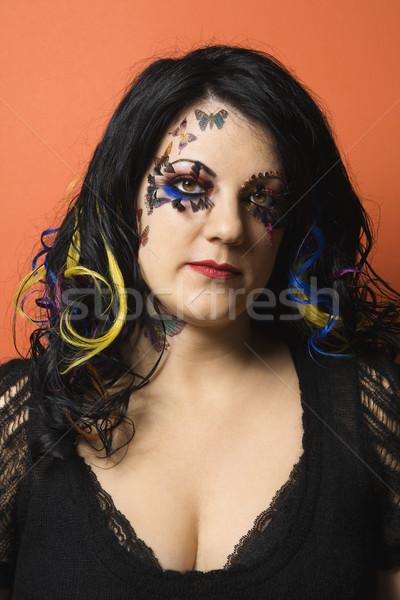 Vrouw uniek make kaukasisch haren Stockfoto © iofoto