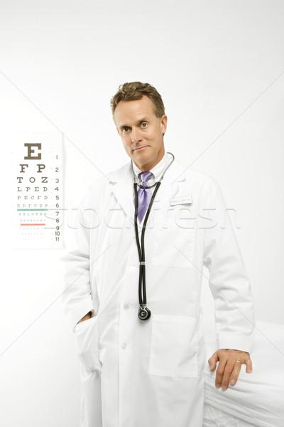 Stock fotó: Orvos · szem · diagram · kaukázusi · férfi · orvos · orvosi