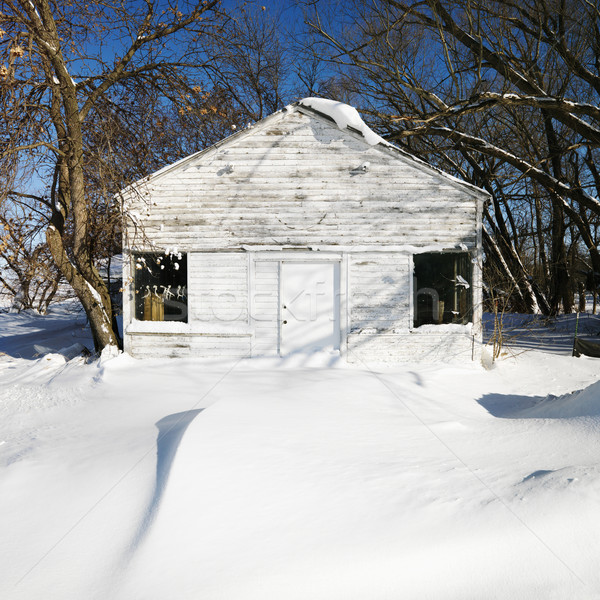 Casa blanca nieve cubierto paisaje cielo casa Foto stock © iofoto