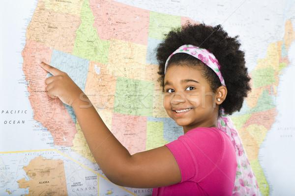 Stock fotó: Lány · mutat · térkép · afroamerikai · Egyesült · Államok · mosolyog