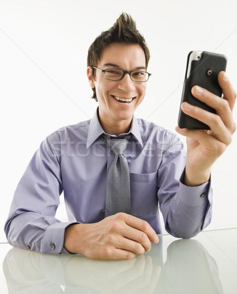 Photo stock: Souriant · affaires · téléphone · portable · asian · pda