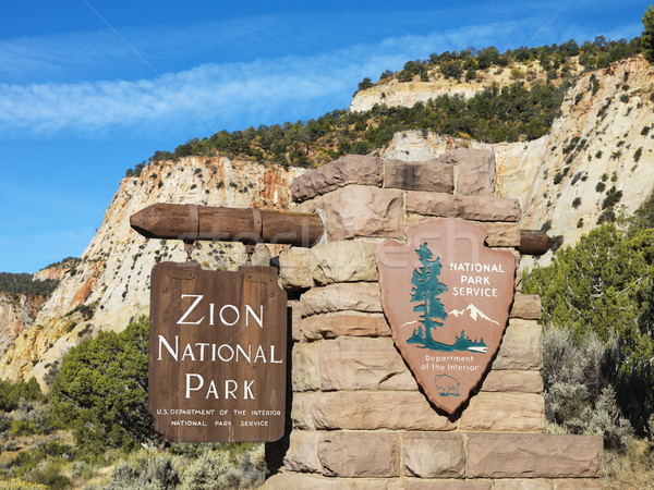 Zion National Park sign. Stock photo © iofoto