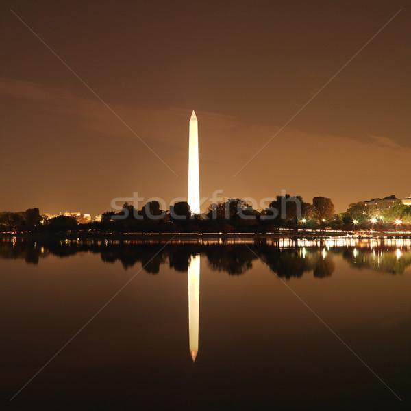 Washington Monument nacht water Washington DC USA stad Stockfoto © iofoto
